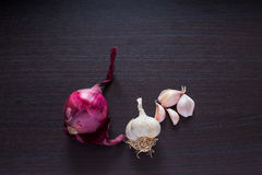 Red onion and garlic on a dark wooden background. Vegetables placed on a dark background. Organic and fresh. Healthy eating. Vitamins and antioxidants royalty free stock photos