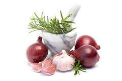 Red onion, garlic and fresh rosemary Stock Image