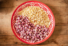 Red onion and garlic in salver Stock Image