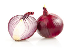 Red Onion with Half on White Background royalty free stock image