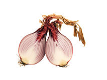 Red onion halves Royalty Free Stock Photography