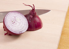 Red onion halves with knife Stock Images