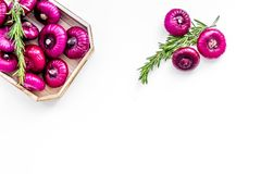Red onion is healthy product. Onion bulbs in tray on white background top view space for text. Red onion is healthy product. Onion bulbs in tray on white Royalty Free Stock Photography