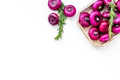 Red onion is healthy product. Onion bulbs in tray on white background top view space for text. Red onion is healthy product. Onion bulbs in tray on white Stock Photos