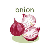 Red Onion Isolated object in flat style. Royalty Free Stock Image