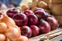 Red onion at the market stock photo