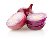 Red Onion and Onion Rings on White Background Stock Images