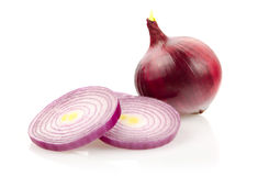 Red Onion and Onion Rings on White Background Stock Image