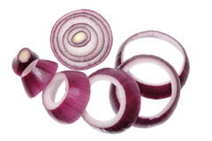 Red Onion Rings. On Isolated White Background Stock Photography