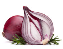 Red onion and rosemary leaves Royalty Free Stock Photos