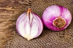 Red onion on sack Stock Photography