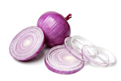 Red Onion with Slice and Rings Stock Images