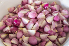 Red onion. Red sliced onion on the bowl Royalty Free Stock Photography