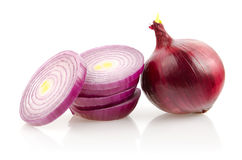 Red Onion and Slices on White Background stock photos