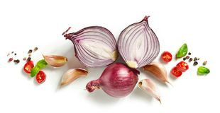 Red onion and spices. Composition of red onion and spices isolated on white background, top view royalty free stock photo