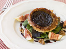 Red Onion Tarte Tatin with Walnuts Figs Royalty Free Stock Photos