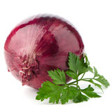 Red onion tuber and fresh parsley Royalty Free Stock Image