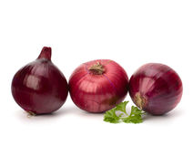 Red onion tuber and fresh parsley Stock Image