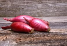 Red onion on the wooden table Stock Image