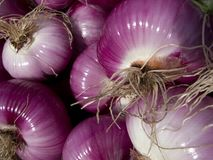 Red onions. At a country market Stock Photo