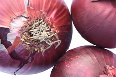 Red onions. Three red onions on white background Royalty Free Stock Photography
