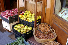 Red Onions, Apples and Nuts at a Spanish Market Stock Image