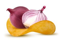 Red onions with chips Stock Image