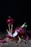 Red onions. Close up fresh organic vegetables. Spring harvest art, design. Royalty Free Stock Images