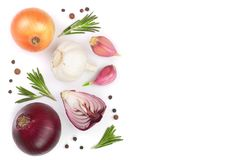 Red onions, garlic with rosemary and peppercorns isolated on a white background with copy space for your text. Top view Stock Photography