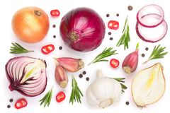 Red onions, garlic with rosemary and peppercorns isolated on a white background. Top view. Flat lay.  stock image
