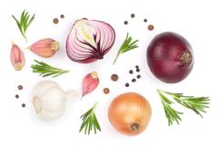 Red onions, garlic with rosemary and peppercorns isolated on a white background. Top view. Flat lay Stock Photography