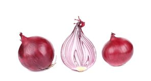 Red onions and half. Royalty Free Stock Photo