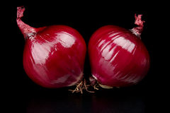 Red onions isolated on black Stock Photo
