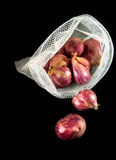Red onions in mesh bag and some on floor isolated on black backg. Round Royalty Free Stock Photo