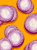 Red onions on orange background. Vector illustration of cross section slices of red onions royalty free illustration