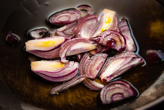 Red Onions in Pan Stock Images