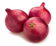 Red onions. Path isolated on white royalty free stock image
