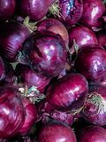 Red onions in plenty. In market royalty free stock photos