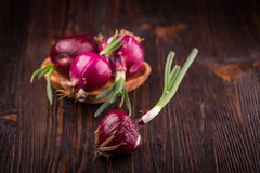 Red onions on rustic wood Stock Photo