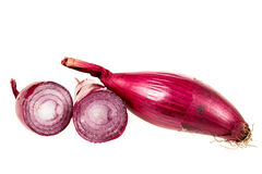 Red onions sliced isolated on white Royalty Free Stock Images