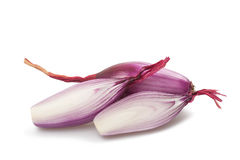 Red onions. Sliced on white stock photo