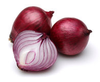 Red onions with slices royalty free stock photography