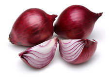 Red onions with slices Stock Photography