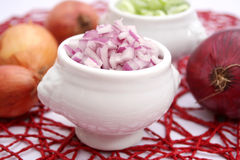 Red onions. Some fresh red onions in a bowl Stock Photos