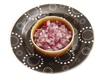Red Onions. Some fresh red onions in a bowl stock images