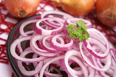 Red onions. Some fresh rings of red onions Royalty Free Stock Images