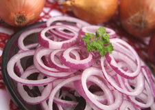 Red onions. Some fresh rings of red onions Royalty Free Stock Photos