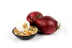 Red Onions and Soup Pulses Stock Photos