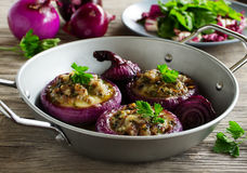 Red onions stuffed with goat cheese Royalty Free Stock Photography