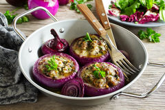Red onions stuffed Royalty Free Stock Photos